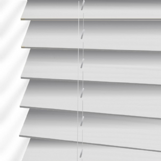 White Faux Wood Venetian Blinds in Glaze White Embossed
